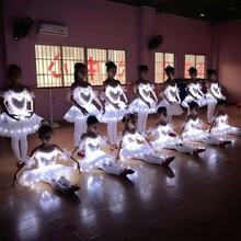 Professional LED Fluorescent Swan Lake Ballet Tutu Costume Girls Ballerina Dress Kids Ballet Dress Performance Stage Dancewear