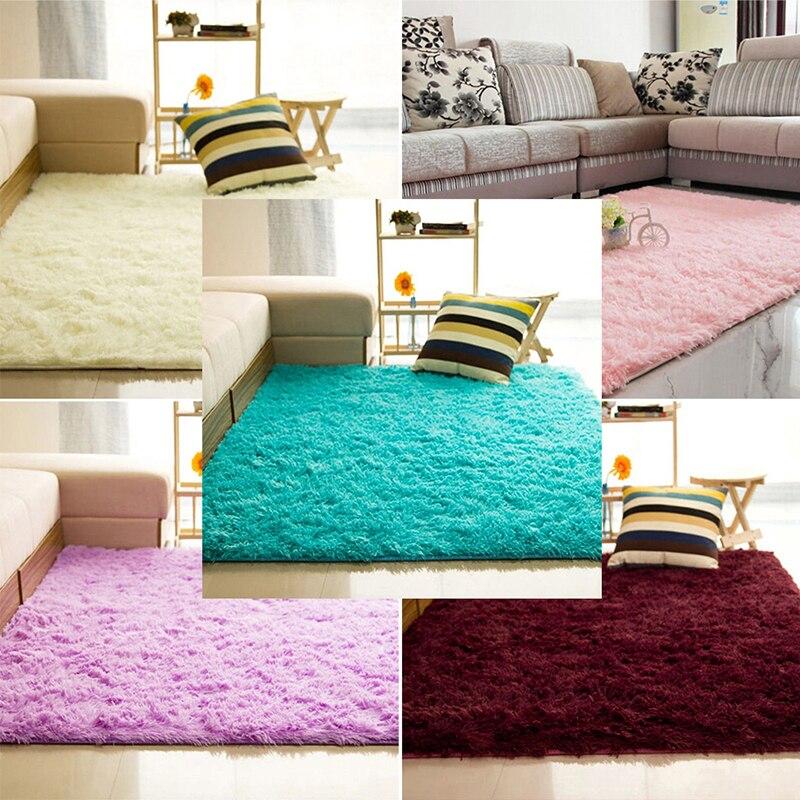 5 colors mordern antiskid plush shaggy area rug carpet nonslip soft fluffy floor mat - Fluffy Rugs
