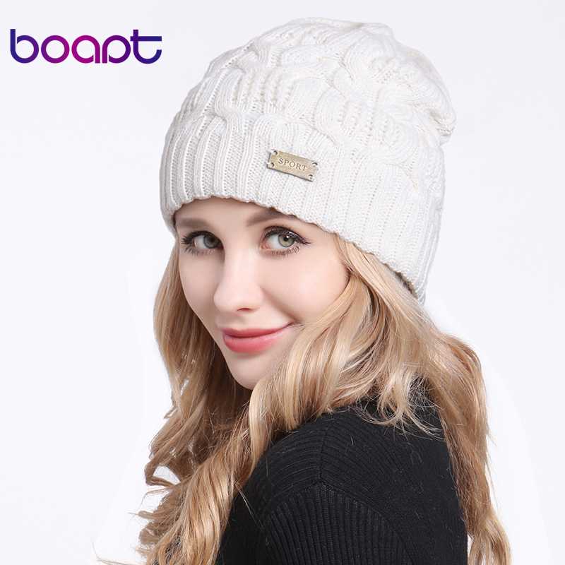 [boapt] Geometric Type Double layer Wool Knitted Female Winter Hat Fold Braid Cap Headgear For Women Hats Girls   Skullies     Beanies