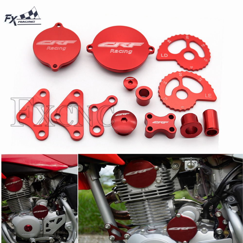 Red Kit For Honda CRF 230 CRF230 Engine Mount Support Magneto Starter Oil Cover Wheel Spacer Suspension Lowering Chain Adjuster