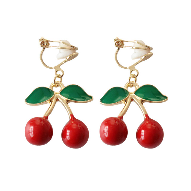 Ribbon Bowknot Earring Jewelry Red Crystal Cherry Earrings No Ear Hole Cute Cherries Fruit Pendant Clip