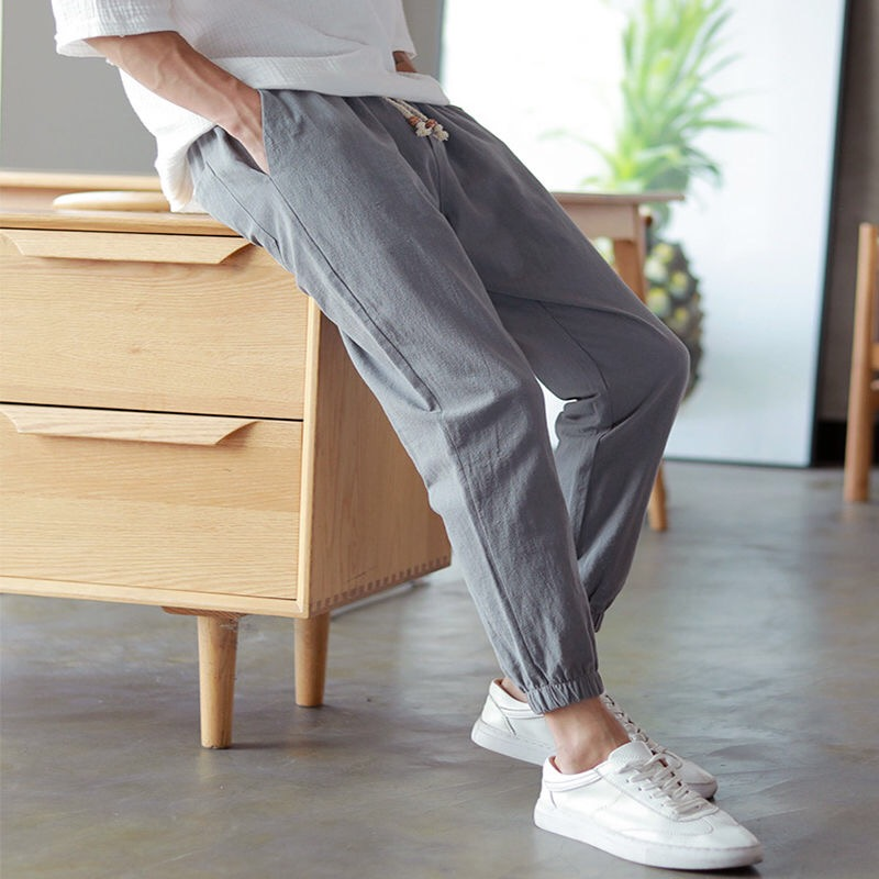 Cotton Linen Joggers Black Men's Harem Pants Harajuku Fitness Lace Up Spring Mens Trousers 2019 Summer Streetwear Clothes Male(China)
