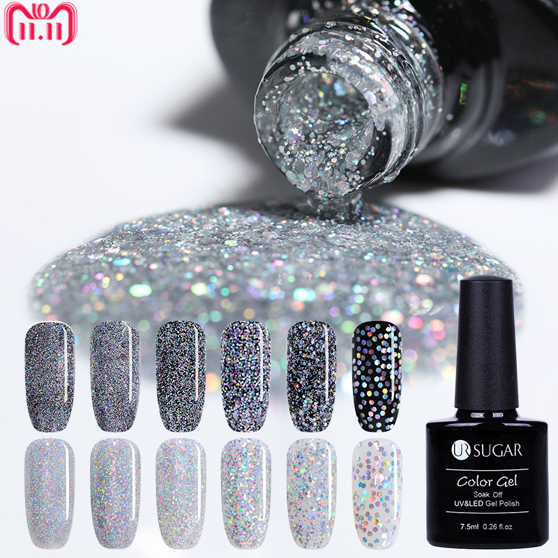UR SUGAR Laser Silver UV Nail Gel Polish