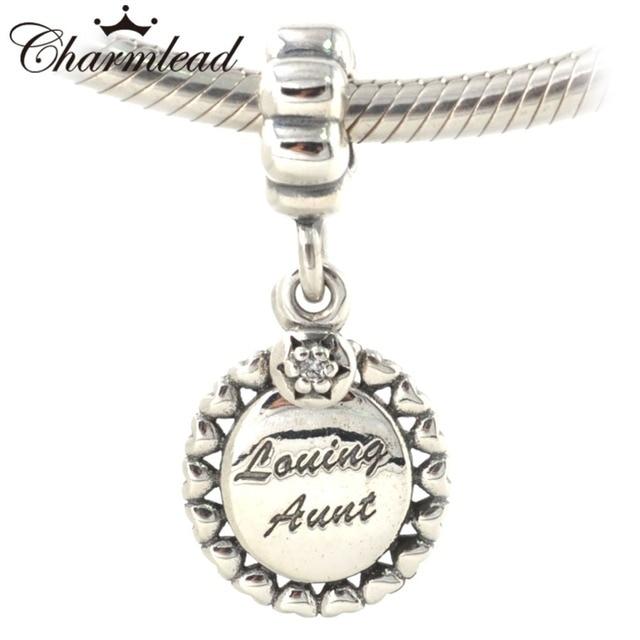 Fits Pandora Charms Bracelet Authentic 925 Sterling Silver Beads Loving Aunt Dangle Charm Pendant Diy Fashion
