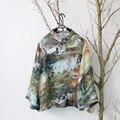 SERENAMENTE Das Mulheres Encabeça 2016 Primavera Verão T-shirt para As Mulheres Estilo Chinês Botão de Placa de Impressão Do Vintage Do Sexo Feminino Casual Camisas Mulheres S92