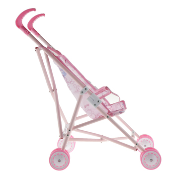 Foldable Doll Stroller Doll Pram Pink Cartoon Pattern Printed Baby Doll Stroller for Above 3