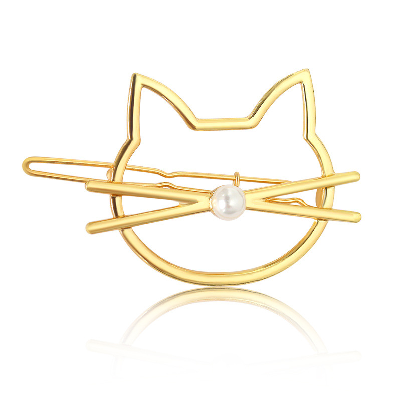Crossing Beard Simulated Pearl Nose Love Kitty Cat Hollow