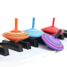 Traditional Childrens Spinning Top Toys with Wooden Colored Rotary Gyroscope for Children