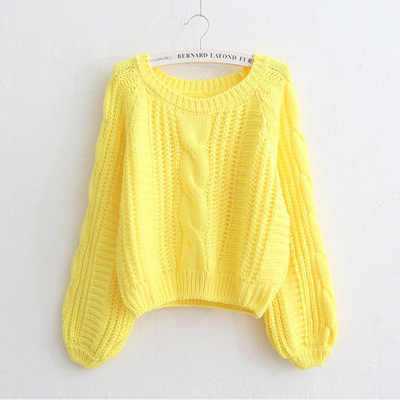 Europe and America short twist wineb sweater female lantern sleeve thick 2018 autumn and winter knitted pullovers 17103