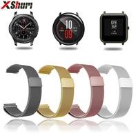 XShum 22mm 20mm Metalen Roestvrij Band Voor Xiaomi Amazfit Bip Tempo Strap Wrist Milanese Loop Magnetische Strap Smart horloge armband