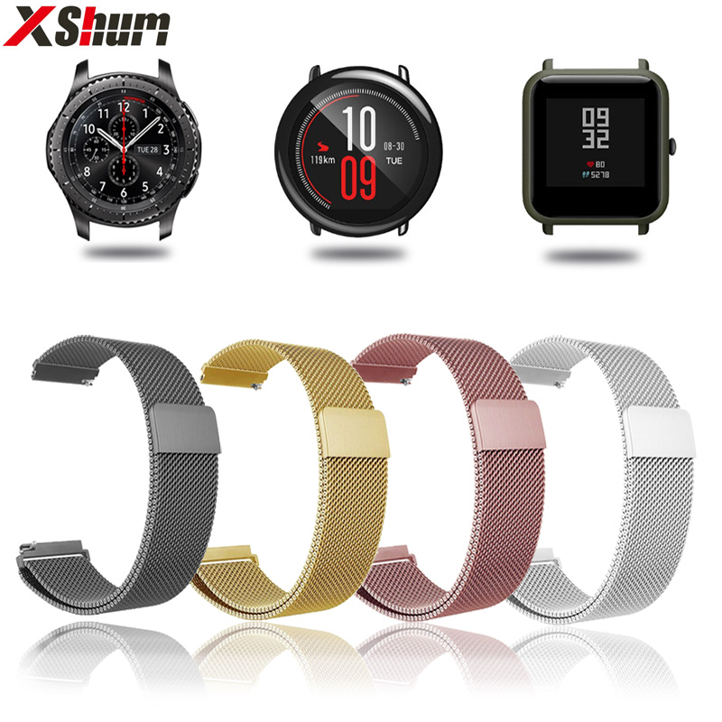 XShum 22mm 20mm Strap Bracelet Metal Stainless Band For Xiaomi Amazfit Bip Pace Magnetic Strap For Smart Watch GTS GTR Stratos