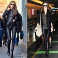 Luxury Fashion New Autumn Winter Leather Pants 2017 Women Sheepskin Leather Skinny Leg Real Leather Suede Pant Trousers XXL