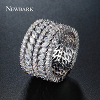 NEWBARK New Fashion Women Wide Band Rings White Gold Color AAA CZ Full Jewelled Round And