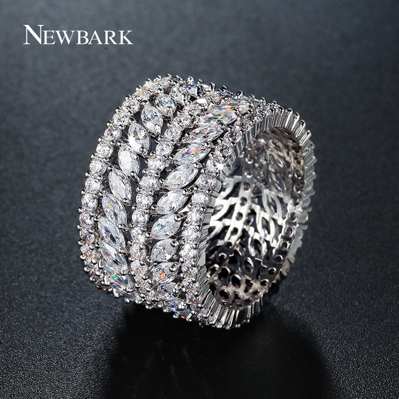 NEWBARK One Color Silver Color Wide Rings AAA Cubic Zirconia Full-zircon Marquise 5-row Multilayer Shiny OL Style Finger Ring цена 2017
