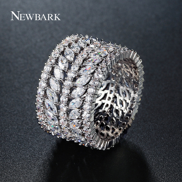 NEWBARK One Color Silver Color Wide Rings AAA Cubic Zirconia Full-zircon Marquis