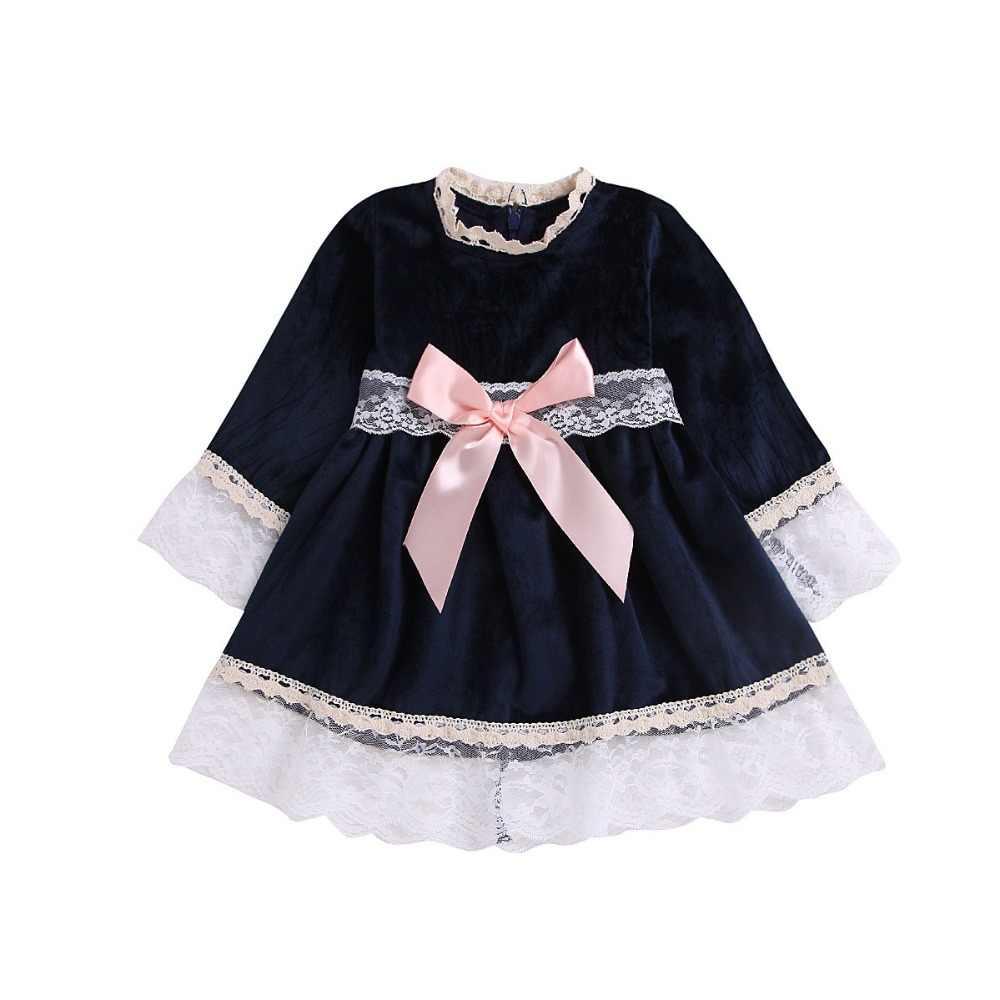 Meisjes jurk prinses jurk herfst en winter boog lange mouwen dikke fluwelen kant verjaardag show bruiloft avondjurk