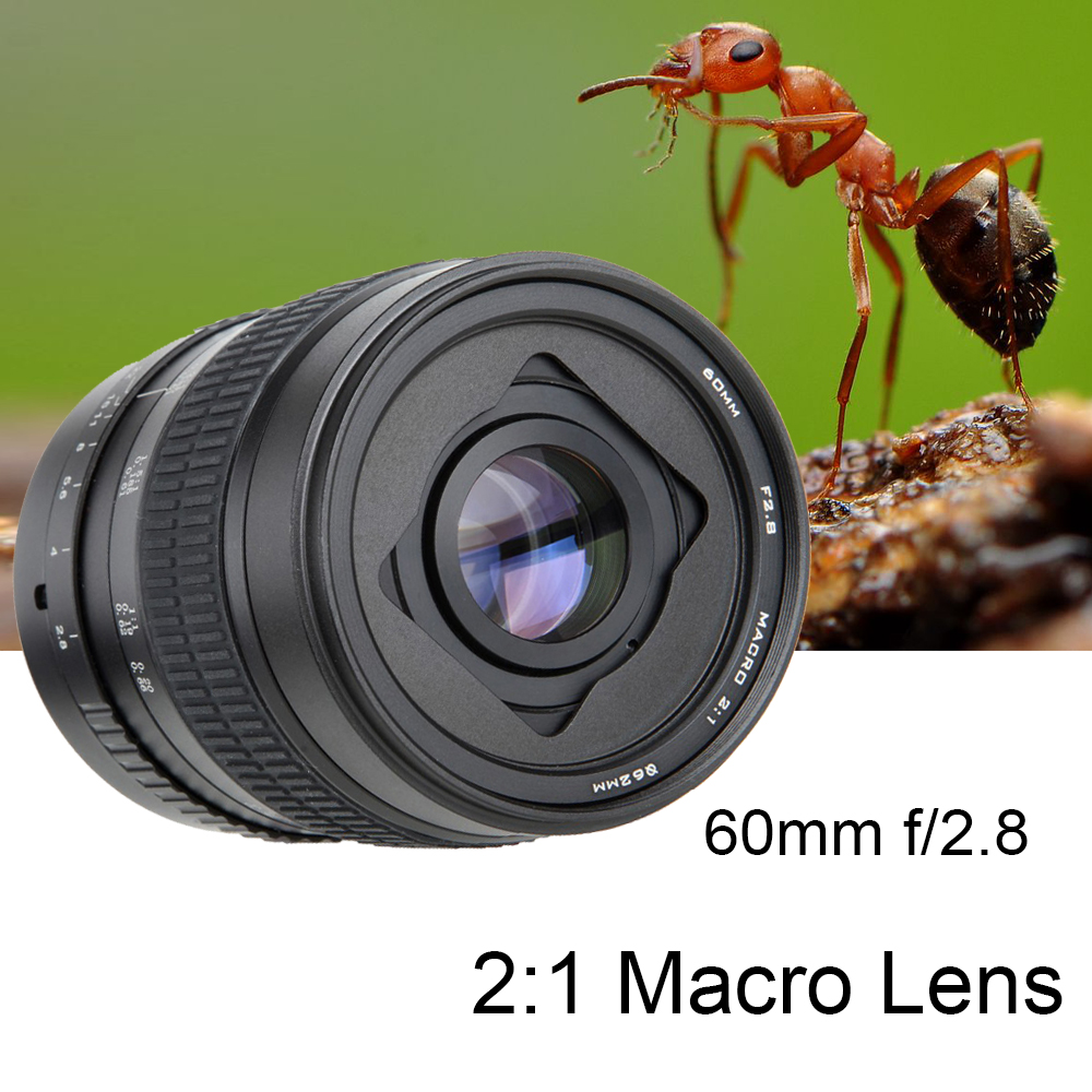 60mm F/2.8 2:1 Super Macro Manual Focus Lens For Canon Nikon Pentax/Fuji X-T2/Sony E Mount A7RIII A6500/M4/3 GH4 GH5 Camera DSLR