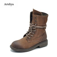 Artdiya Original 2017 Autumn and Winter New Handsome Women Boots Neutral Lace up Martin Boots Genuine Leather Ankle Boots 1788