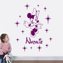 Personalized Girl Name Minnie Mouse Cartoon Wall Sticker Vinyl Home Decoration Kids Room Nursery Decal Custom Mural 3N38