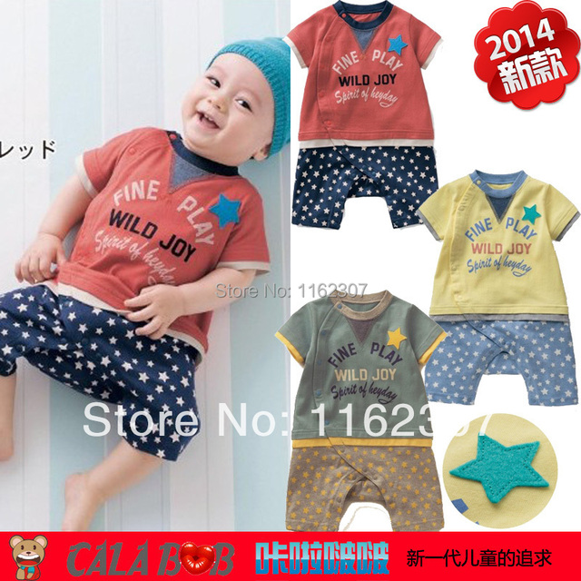 New 2016  High quality Baby rompers girl boy's short sleepsuit cartoon broidery summer jumpsuit children pajamas