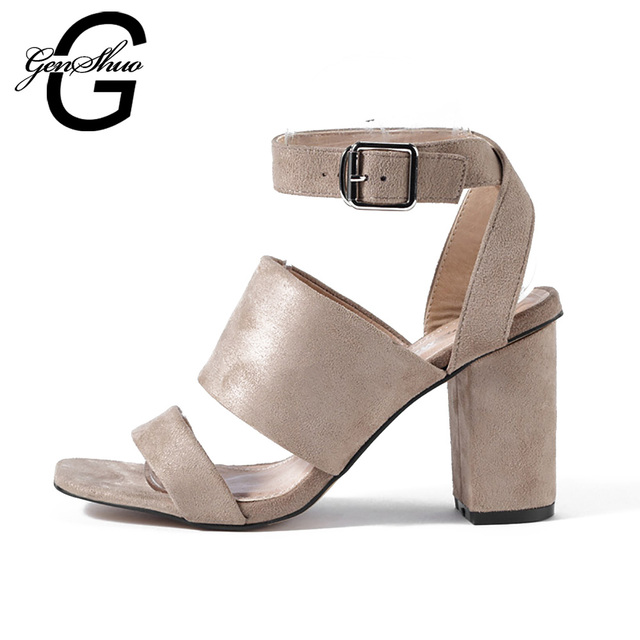 a9ba47ed1292 GENSHUO Brand Shoes Woman Summer Gladiator Women Sandals Sexy Peep Toe  Buckle Strap High Heel Sandals Clearance Sale