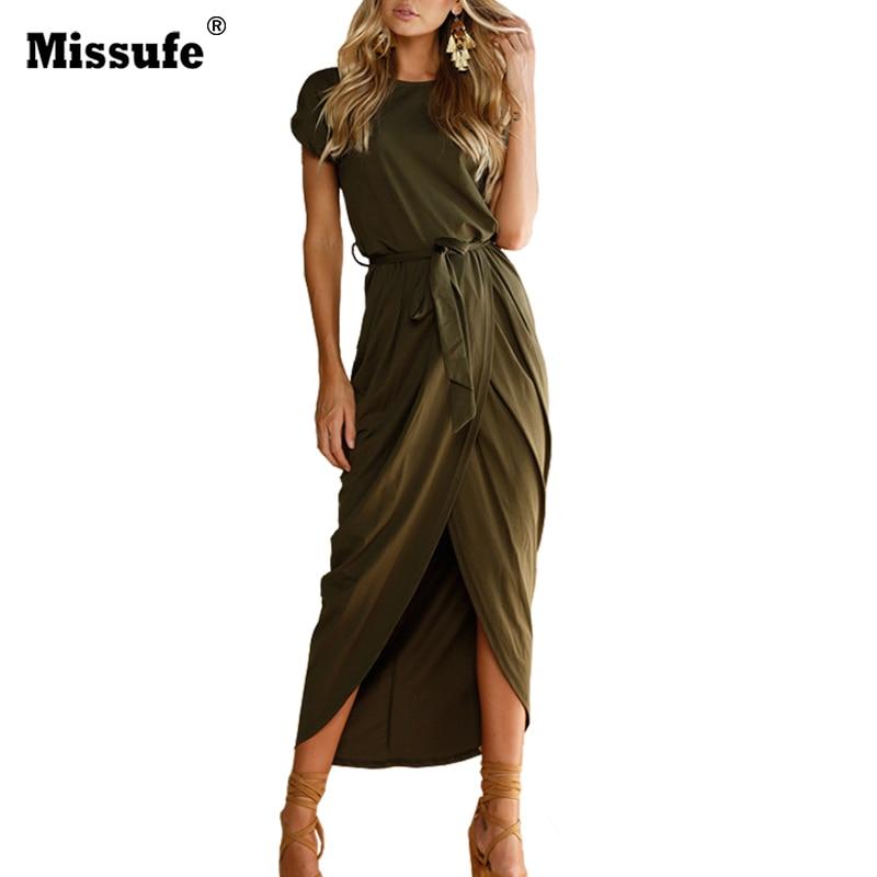 Missufe Alta Dividir Casual Vestido Maxi Largo Con Cinturón Vestidos 2017 Sexy L