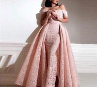 Pink Mermaid Arabic Two Pieces Evening Dresses Kaftan Long Prom Dresses 2019 Couture Lace Party Dress With Detachable Skirt
