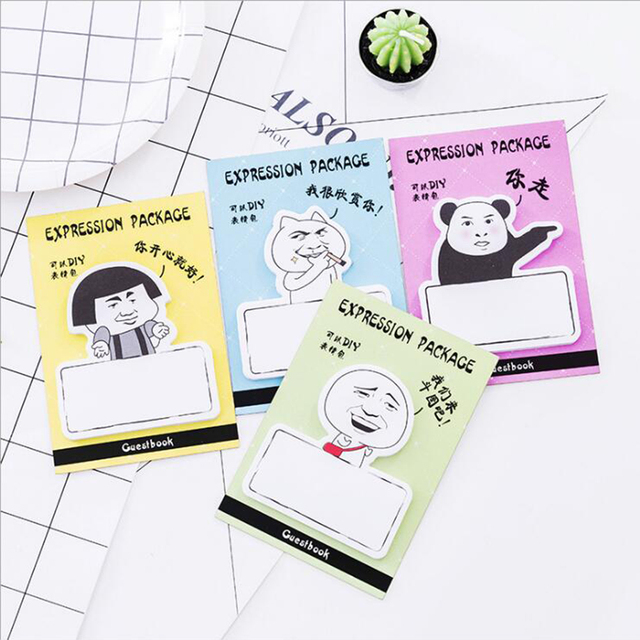 30 sheets funny expression package self adhesive paper memo pads creative family fridge message portable