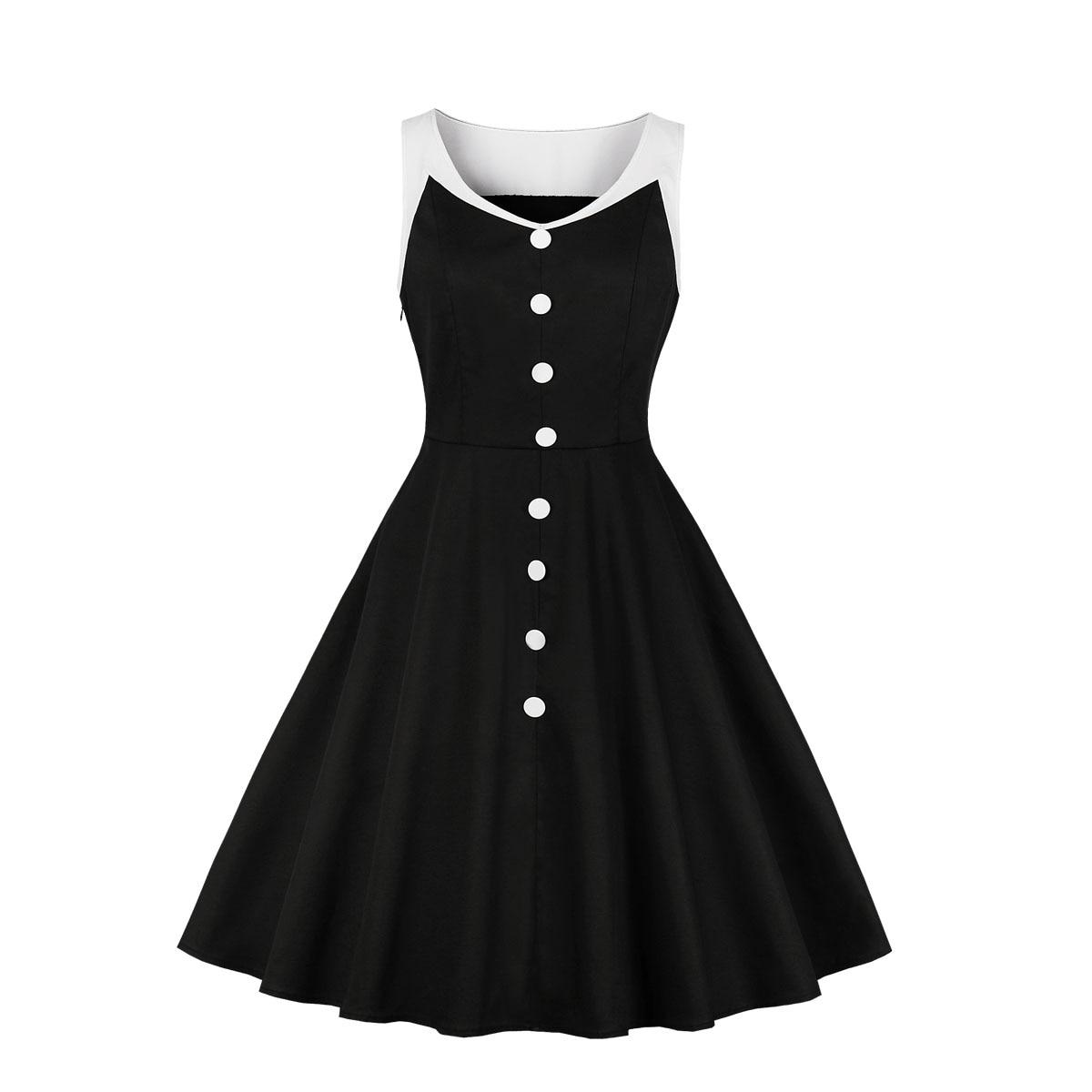 6dd37c0e838 Для женщин  Большие размеры 50 s 60 s ретро Винтаж лоскутное платье без  рукавов Лето