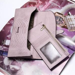 Image 5 - Роскошный брендовый Женский кошелек из натуральной кожи, дамские сумочки, розовый кошелек с тиснением под змеиную кожу, дизайнерская длинная сумочка на защелке для мобильного телефона, держатель для карт