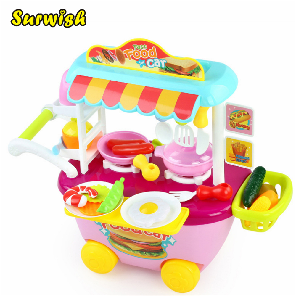 все цены на Surwish Creative Children Fast Food Car Cooking Play Kitchen Toys Kids Pretend & Play Educational Toy