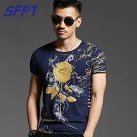 2017 Summer Mens Casual T Shirts O Neck Navy Blue Gold Bronzing Rose Print Brand Men