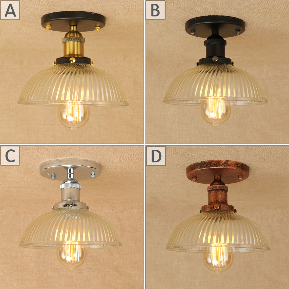 Loft classical vintage iron glass lampshade ceiling lamps LED E27 lights plafonnier luminaire for bedroom living room hallway chandeliers lights led lamps e27 bulbs iron ceiling fixtures glass cover american european style for living room bedroom 1031