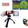 50x metal teleobjetivo lentes de zoom telescopio lente de la cámara para samsung galaxy S5 S6 S7 borde nota 2 3 4 5 de Control de Bluetooth obturador
