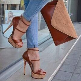 Trendy Brown Heel Women Sandals Cut out Buckle Strap Open Toe Platform Heels Ladies Dress Shoes Gladaitor 2019 High Heels Pumps - 2