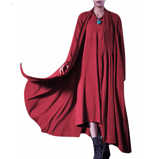 Women Casual Loose Trench Coat 2017 Vintage Elegant Ladies Lapel Long Sleeve Solid Outwear Pleated Long Cardigan Tops Oversized