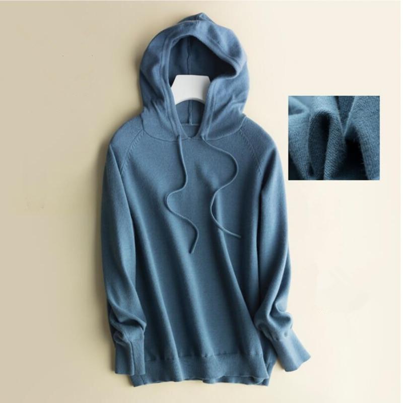 GCAROL Fall Winter Girls Knit Pullover 30% Wool Hooded Sweater High Street Candy Women Render Knit Jumper Knitwear 25