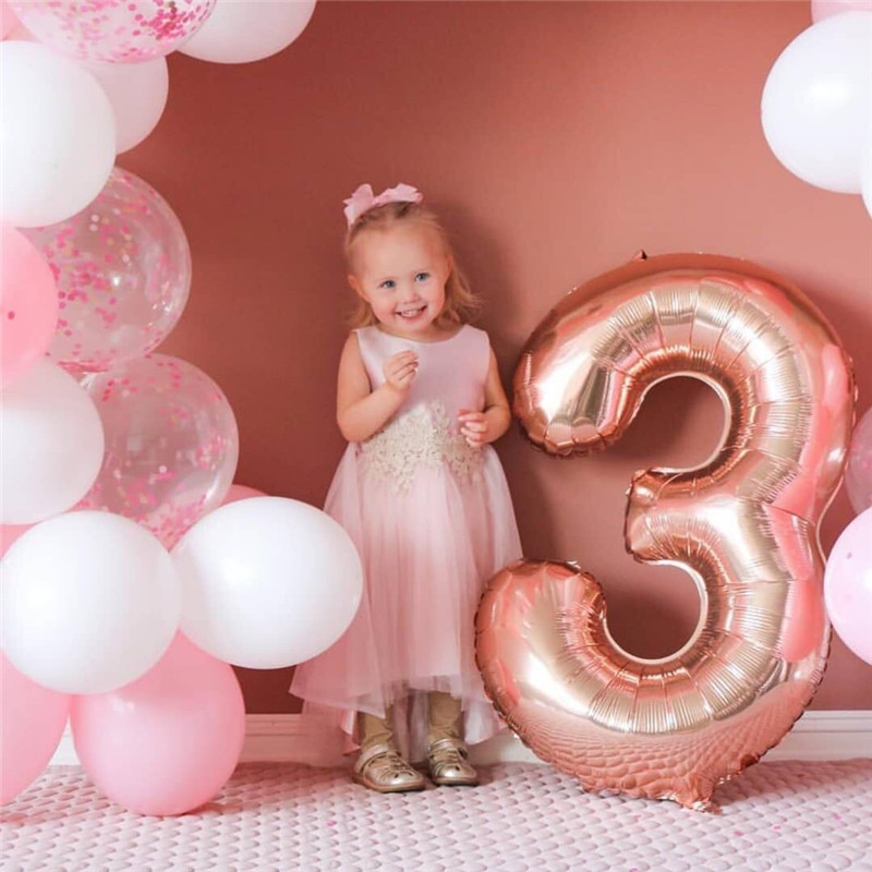 40inch Rose Gold Silver Gradient Number Foil Balloons Birthday Party Wedding Decorations Figure Balloon Party Supplies Globos in Ballons Accessories from Home Garden