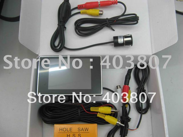 wired 12V waterproof high definition CCD reverse camera 3.5 inch dashboard mount TFT display  PSV 168