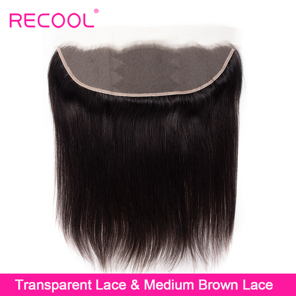 Recool HD Transparent Lace Frontal closure 8 22 Inch Remy Brazilian Straight Human Hair Frontal Closure