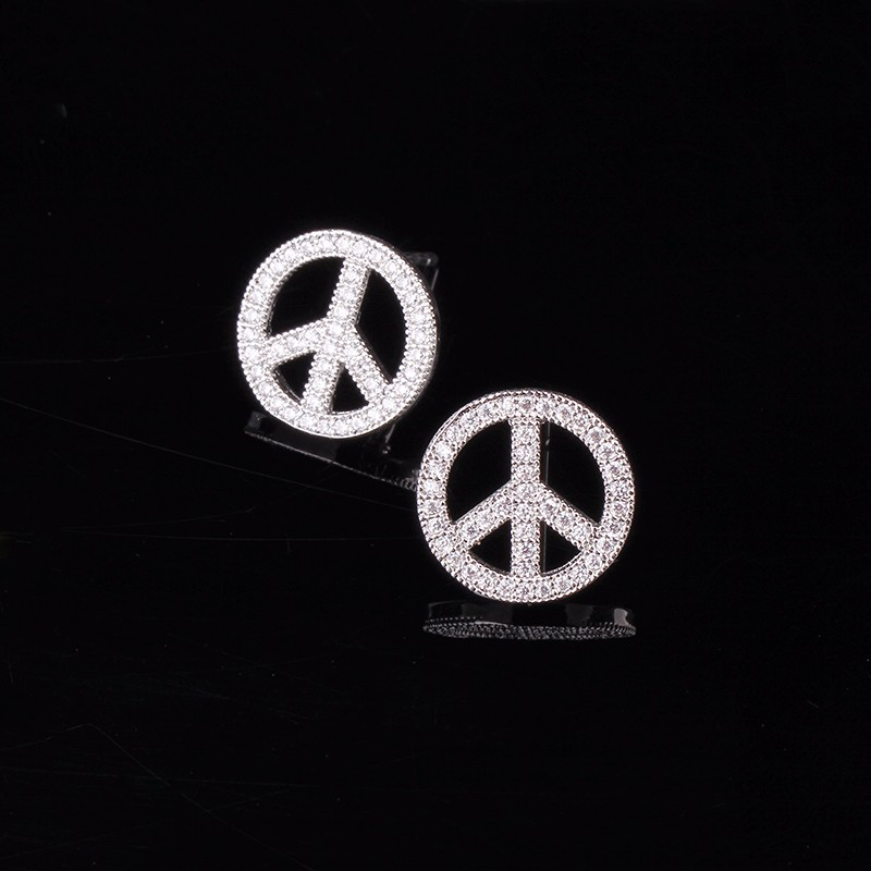 Very Girl Small Peace Symbol Earrings For Girls Silver Plated Pave