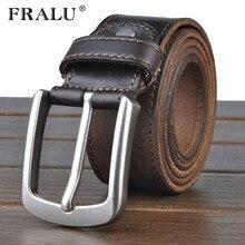 FRALU cowhide genuine leather belts for men cowboy Luxury strap brand male vintage fancy jeans designer