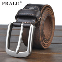 FRALU Cowhide Genuine Leather Belts For Men Cowboy Luxury Strap Brand Male Vintage Fancy Jeans Designer