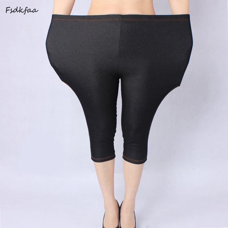 Plus Size Women XXXXXL Sexy Cotton Faux Jeans Legging Women Fat Spring And Summer Imitation Jeans For Mais A Ti Women Capris