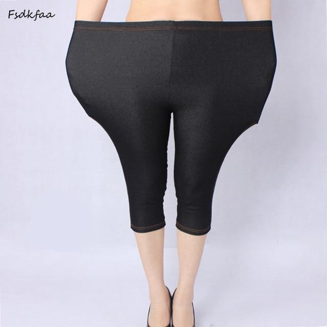 474a754df85 Plus Size Women XXXXXL Sexy Cotton Faux jeans Legging Women Fat spring And  Summer Imitation jeans For Mais a ti Women Capris. 1 order