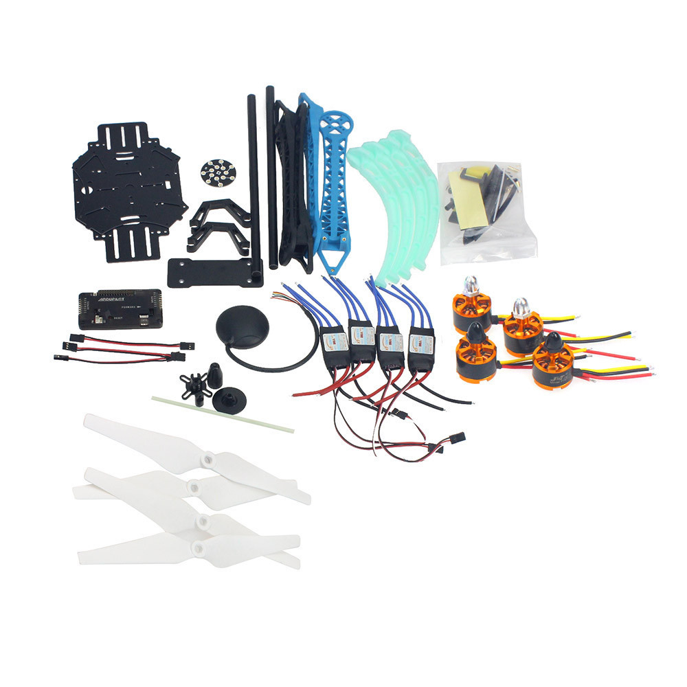 Drone Quadrocopter 4-axle Aircraft Kit 500mm Multi-Rotor Air Frame 6M GPS APM2.8 Flight Control No Transmitter Battery F08151-K f11859 f full set drone quadrocopter aircraft kit 300h 300mm frame 6m gps apm 2 8flight control flysky fs i6 transmitter