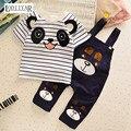 Conjuntos de Roupas infantis Do Bebê Das Meninas Dos Meninos de Manga Curta Top + Calça Suspender Terno Padrão Panda Dos Desenhos Animados Vestuário Set 2017 verão