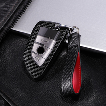 Carbon fiber+PC Car Key Case Cover for Bmw New X1 X5 X6 2 5 7 Series 2014 2016 360° Protection Waterproof Keychain Accessories