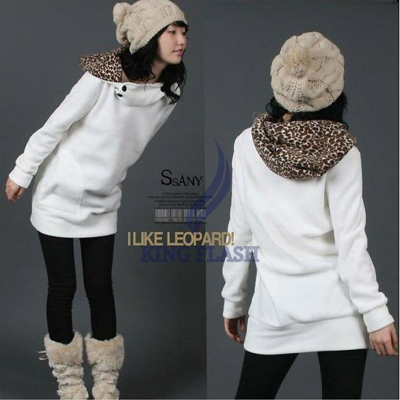 Free Shipping Fashion Korea Cotton Womens Hoodies Sweatshirts Leopard Top Outerwear Coats free shipping