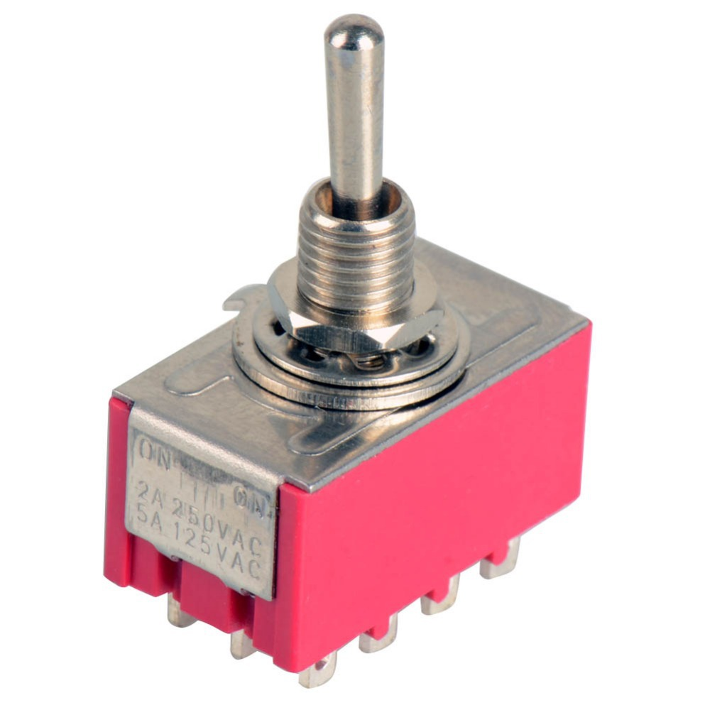 цена на 1Piece 12 Pin Mini Toggle Switch 4PDT 2 Position ON-ON 2A 250V/5A 125VAC